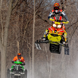 Snowmobile Race 2 by Peter K. Burian - Sports & Fitness Snow Sports ( competing, winter, snowmobile, racing, snow, skidoo, sports, action, airborn, competition )