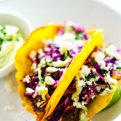Beef Tacos with Cilantro Slaw and Avocado Dressing