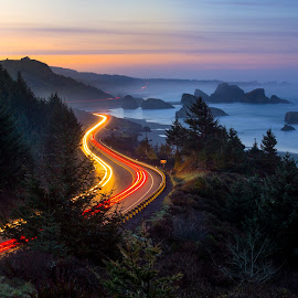 dawn on highway 101 by Nick Page - Landscapes Travel ( cars, car trails, oregon coast, highway 101, long exposure, travel )