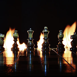 Chess pieces and flames. by Peter Salmon - Artistic Objects Other Objects