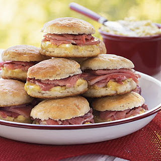 Wooo Pig Sooie Ham-Stuffed Biscuits with Mustard Butter