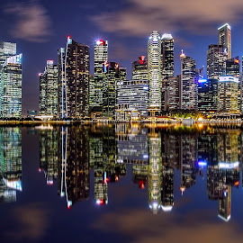 Shenton Way Skyline by Gordon Koh - City,  Street & Park  Night ( shenton way, cbd, skyline, reflection, skyscraper, financial district, blue hour, riverfront, asia, night, cityscape, waterfront, singapore, city )