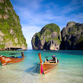 Maya Beach Phi Phi Leh Thailand by Eric Montalban - Landscapes Travel ( water, cliffs, thailand, sea, ocean, beach, phuket, crystal, beachscape, landscape, turquoise, maya beach, maya bay )