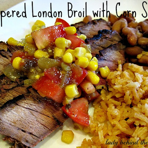 Peppered London Broil Steak with Corn Salsa