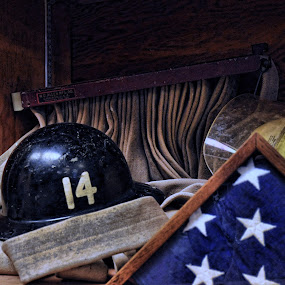 Retired Fireman by Starla Sims - Artistic Objects Other Objects ( firefighter, flag, fireman, fire fighter, fire )