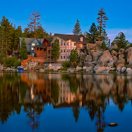 Morning Comes to Boulder Bay by Ann J. Sagel - Buildings & Architecture Homes ( big bear, sunrise, ann sagel )
