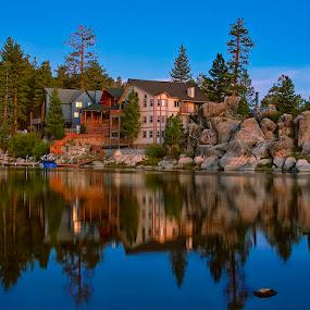 Morning Comes to Boulder Bay by Ann J. Sagel - Buildings & Architecture Homes ( big bear, sunrise, ann sagel )