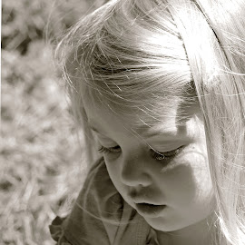 Sunny Day by Judy Laliberte - Novices Only Portraits & People ( little girl, b & w, sunlit hair, light, closeup )