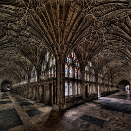 Gloucester Cathedral Cloister by Roland Shanidze - Buildings & Architecture Architectural Detail ( pwclivingrooms-dq, interior, vertorama, england, roland shainidze, gloucester, pwcdetails, cathedral, anglican church, architecture interior )