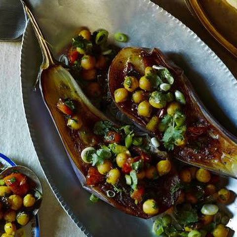 Charred Eggplant With Curried Chickpeas
