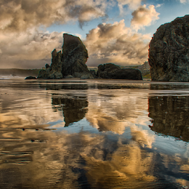 Reflections by Trisha Payne - Landscapes Beaches ( clouds, oregon, bandon, pacific ocean, beach, rocks )