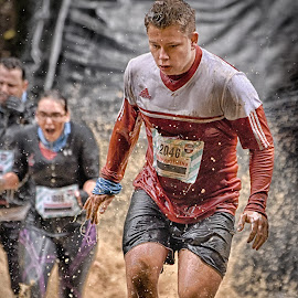 Escape From The Big Splashes by Marco Bertamé - Sports & Fitness Other Sports ( muddy water, splash, splatter, differdange, 2015, concentrated, number, soup, running, luxembourg, red, strong, woman, determined, lady, brown, strongmanrun, 2046, man )