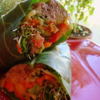 Spicy Raw Collard Green Burritos