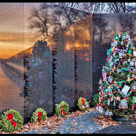 Remembering by Deborah Felmey - Public Holidays Christmas ( monuments, memorial, vietnam war memorial, christmas eve, washington dc )