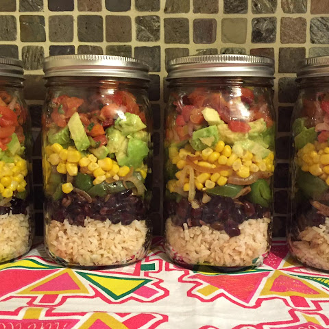 Mexican Vegan Burrito Bowl Mason Jar Salad - Chipotle Style!