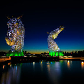 The Kelpies by Iain Cathro - City,  Street & Park  Night ( scotland, sculpture, structure, kelpies, the helix, falkirk, night, floodlights, nightscape, stainless steel )