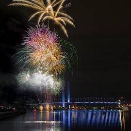 The Final Hurrah!! by Scott Hemsley - Abstract Fire & Fireworks ( lights, reflection, melbourne, fireworks, blended, bridge, yarra, river )