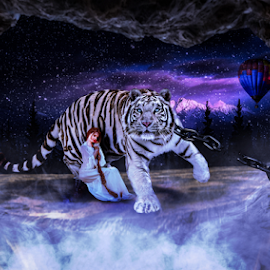 Girl and Tiger by Miroslav Potic - Digital Art Animals ( girl, tiger, digital art )