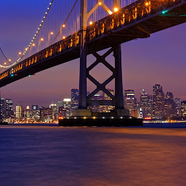 Bay Bridge on a foggy night by Claus Dahm - Buildings & Architecture Bridges & Suspended Structures ( skyline, fog, california, night, bay bridge, san francisco )