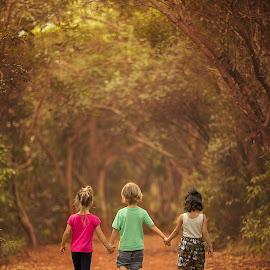 Together by Nemanja Stanisic - Babies & Children Children Candids ( walking, autumn, fall, children, forest, kids, walk, together )