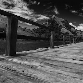 Dock by Royanto Fx - Landscapes Travel ( clouds, manjarite, black and white, labuan bajo, daylight, dock )