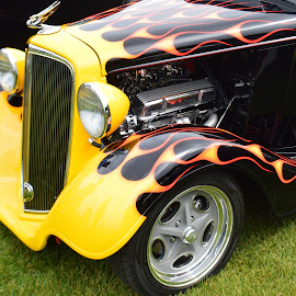 Flaming Hot Rod by Corinne Hall - Transportation Automobiles