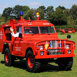 The Old Warden Fire Service by DJ Cockburn - Transportation Automobiles ( firefighter, 30 ag 47, vintage, land rover 109, emergency, g-svas, biggleswade, fire truck, museum, shuttleworth collection, fire engine, england, red, old warden, land rover tacr-1, bedfordshire, airfield, antique, piper super cub, britain )