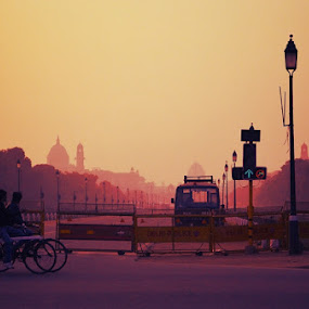 dawn cyclying by Saurav Bhattacharyya - City,  Street & Park  Street Scenes ( dawn, street )
