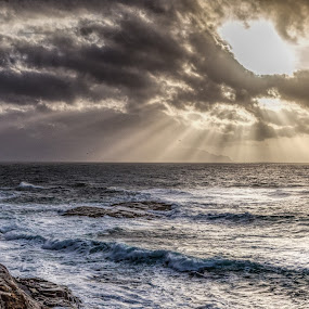 Sunbeams by Benny Høynes - Landscapes Cloud Formations ( clouds, sunbeams, landscapes, sunlight, norway )