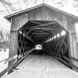 Covered Bridge in Cedarburg, Wisconsin by Jason Lockhart - Black & White Buildings & Architecture ( wisconsin, cedarburg, black and white, covered bridge, ozaukee county )