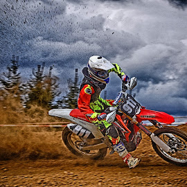 Red Storm by Marco Bertamé - Sports & Fitness Motorsports ( curve, cloouds, red, motocross, dust, dramatic, clumps, number, alone, race, nione eleven, 911 )
