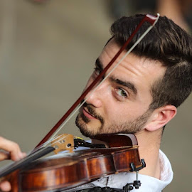 Street Musician by David Bough - People Portraits of Men ( music, violin, street photography,  )