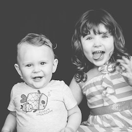 Silly by Jenny Hammer - Babies & Children Children Candids ( sisters, black and white, silly faces, brother, siblings, cute )