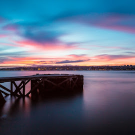 Cais do Ginjal by Marco Raposo - City,  Street & Park  Skylines ( tejo, canon, rio, cais, tagus, sunset, trafaria, pier, portugal, river, ginjal )