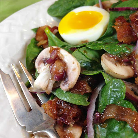 Maple Warm Bacon Dressing Spinach Salad