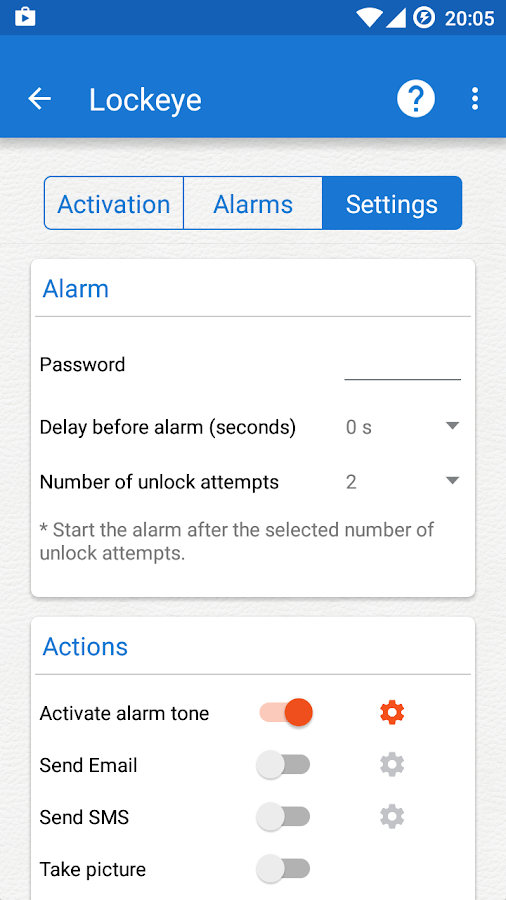 Lockeye : Wrong password alarm &  Anti-Theft Screenshot 2