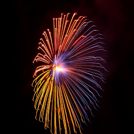 Red, Blue and Yellow Firework  by Ruben  Paul - Abstract Fire & Fireworks ( red, blue, malta, 2015, fujifilm, fireworks, yellow, hal luqa,  )