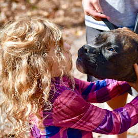 Puppy kisses by Mindi Baum-sherlin - Animals Other ( girl, friendship, puppy, cute, toddler, dog, domestic, kisses, animal )