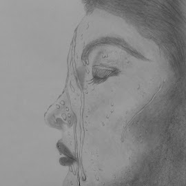 Water Drop On Face by Sangeeta Paul - Drawing All Drawing