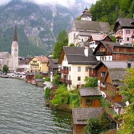 Hallstatt by Dennis Rathbun - City,  Street & Park  Neighborhoods ( cloudy day, village, hallstatt, lakeside, austria )