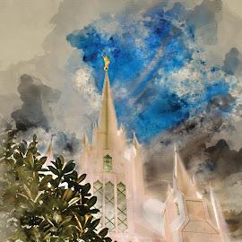 San Deigo LDS Temple Watercolor  by Valerie Aebischer - Digital Art Places ( san diego lds temple, mormon, temple, temples, mormon temples, lds temples, mormon temple, lds )