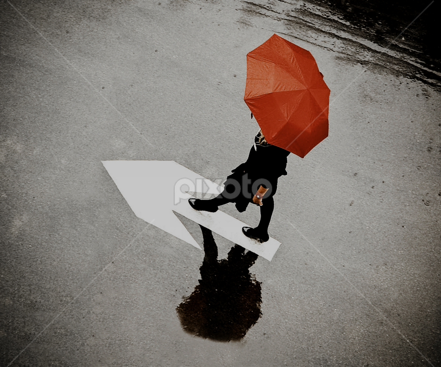 Path to the goal by Ivana Miletic - People Street & Candids ( girl, arrow, umbrella, street, ivana miletic, rain )