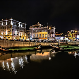 Aveiro By Night by Henrique Melo - City,  Street & Park  Night ( capitania, moliceiro, aveiro, henrique melo, portugal )