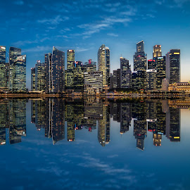 Shenton @ Blue Hour by Gordon Koh - City,  Street & Park  Skylines ( clouds, shenton way, skyline, cityscape, travel, singapore, city, blue hour riverfront, financial district, skyscraper, jubliee bridge, buildings, asia, long exposure, waterfront )