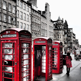 3 red boxes by Stephen Carr - City,  Street & Park  Street Scenes ( 3, phone, edinburgh, red, street, phonebox )