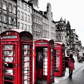 3 red boxes by Stephen Carr - City,  Street & Park  Street Scenes ( 3, phone, edinburgh, red, street, phonebox )