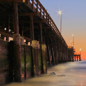 Balboa Pier by Johnny Hirth - Landscapes Beaches ( lifeguard, water, nature, dramatic, moody, night, ocean, long exposure, seascape, beach, landscape )
