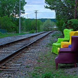 Rest And Railroad by Reva Fuhrman - Artistic Objects Still Life ( railroad tracks chairs colorful unique view downtown,  )