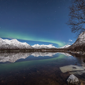 Reflections by Benny Høynes - Landscapes Underwater ( mirror, mountains, winter, aurora borealis, pond, norway,  )