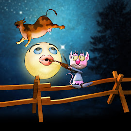 Cow Jumped Over the Moon by Charlie Alolkoy - Illustration Sci Fi & Fantasy ( fence, cat, moon, violin, stars, cow, night, fiddle )